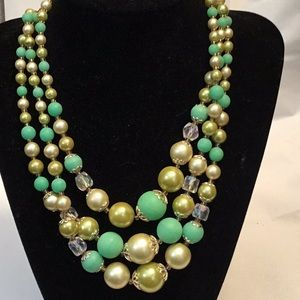 Vintage Japan Green Beaded Necklace